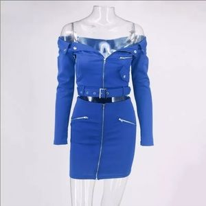 Royal blue two piece biker skirt set